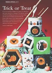Trick or Treat, designed by Mary Hickmott, originally published in New Stitches, Issue 67.