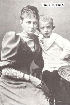 Archduke Karl with his unhappily married mother, Archduchess Maria Josepha, nee Princess Maria Josepha of Saxony.  Karl's father, Archduke Otto, was a wanton philanderer who died a painful death from syphilis.
