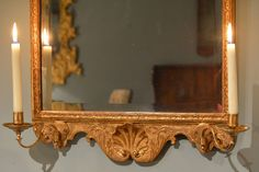 Finely Carved Gilt Gesso Mirror with Candleholders on the Base, circa 1720 | From a unique collection of antique and modern girandoles at https://www.1stdibs.com/furniture/mirrors/girandoles/
