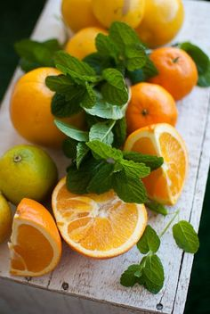 Oranges, limes and mint.
