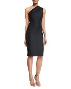 Mila+One-Shoulder+Cocktail+Dress,+Black+by+Haney+at+Neiman+Marcus.