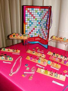 Scrabble Jewelry Display handmade resin jewelry by Katherine Swift