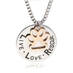 """Dog Lover's Pet Rescue Paw Pendant - """" live love adopt """""""