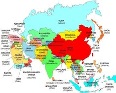 Asia is the first continent in the world and the largest population. It comprises 47 pa … - Asia World Geography Map, Geography For Kids, Free Printable World Map, Pencil Drawing Inspiration, Countries Of Asia, Asian Continent, 6th Grade Social Studies, World Map Wallpaper, Teaching Chemistry