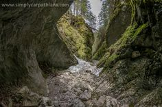 Amazing canion with mossy rock walls in the Tatra Mountains, Poland.