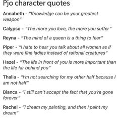 Percy Jackson and the Olympians Percy Jackson Annabeth Chase Calypso Piper McLean Hazel Levesque Thalia Grace Bianca Di Angelo Rachel Elizabeth Dare