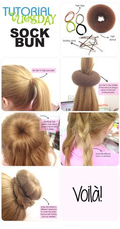 Tutorial Tuesday - How to do the perfect sock bun! I do the sock bun a lot but I never tried it with a braid. Donut Bun Hairstyles, Up Hairstyles, Pretty Hairstyles, Hairstyle Ideas, Looks Cool, Hair Dos, Gorgeous Hair, Hair Hacks, Just In Case