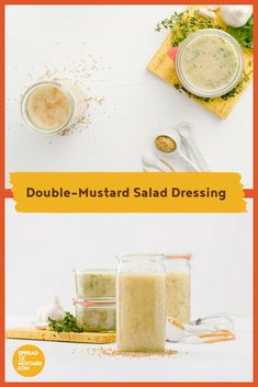 It's ready to shake and toss with cabbage, apple and carrot for a quick slaw, drizzle over steamed asparagus, spoon over potatoes and fixings for a bbq or picnic supper. Mustard Salad Dressing, Mustard Recipe, Mustard Greens, Canning Jars, Drying Herbs, Roasted Garlic, Vegetable Dishes