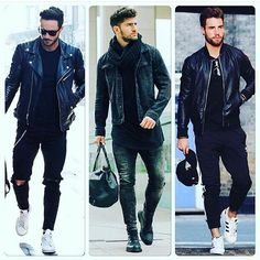 Black Denim Jacket Outfit, Leather Jacket, Fashion Moda, Trendy Fashion, Urban Outfits, Cool Outfits, Suit And Tie, Mens Clothing Styles, Streetwear Fashion