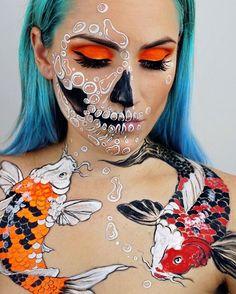 Makeup Ideas: Badass Skull Face Painting Art By Vanessa Davis. Makeup Ideas & Inspiration Badass Skull Face Painting Art By Vanessa Davis. Face Paint Makeup, Body Makeup, Sfx Makeup, Skull Face Paint, Prom Makeup, Makeup Eyeshadow, Makeup Brushes, Skeleton Makeup, Skull Makeup