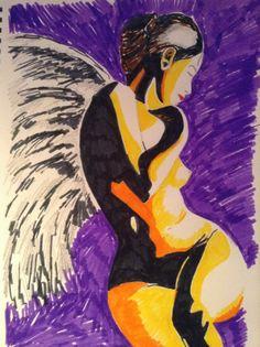Angel - felt tip on paper