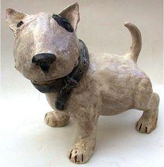 Ceramic English Bull Terrier Puppy Sculpture