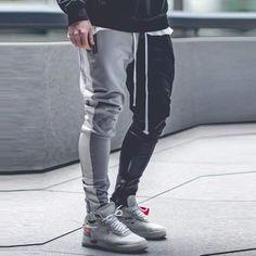 Men's Color Matching Color Zipper Casual Pants Pantalon Streetwear, Style Streetwear, Mens Joggers, Sweatpants, Trousers Mens, Men Pants, Men Street, Street Wear, Style Brut