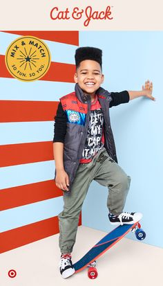 Say hello to Cat & Jack! Cool layers make the Cat & Jack Everyday Hero collection perfect for upcoming chilly weather and the back-to-school season. This guy's outfit is where skater meets superhero, with comfy, durable pants and a fun-to-layer vest with patches. And, backed by Cat & Jack's 1 year guarantee, all these pieces are sure to keep up with your action-packed kiddo.