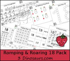 Free Romping & Roaring Number 18 - 39 pages of printables with coloring, playdough mats, tracing, counting, counting books, puzzles and more - 3Dinosaurs.com