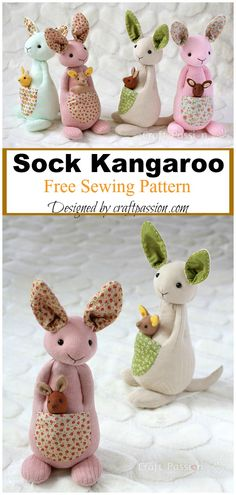 Newest Absolutely Free doll Sewing patterns Suggestions Sock Kangaroo Free Sewing Pattern Doll Patterns Free, Plushie Patterns, Animal Sewing Patterns, Pattern Sewing, Free Baby Sewing Patterns, Hand Sewing Projects, Sewing Projects For Beginners, Sewing Crafts, Sewing Stuffed Animals