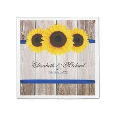 Sunflower Barn Wood Blue Ribbon Wedding Disposable Napkins