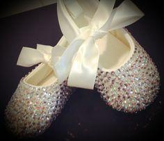 Crystal baby shoes swarovski baby slippers by TutusOfHeaven