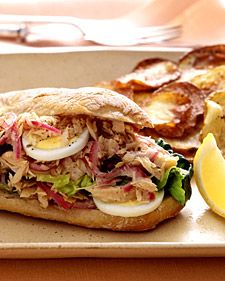 Because tuna is the star ingredient in this sandwich, it's worth  buying oil-packed tuna in a jar, which has a higher quality  and finer flavor than the canned variety.