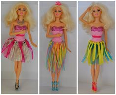 DIY Barbie Clothes - using ribbon or wool and a hair band