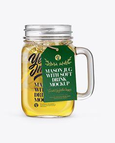 Opened Mason Jug with Lemonade Mockup – Front View