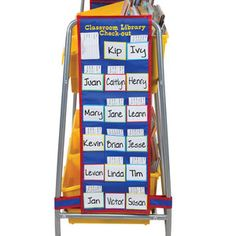 Love this!  Classroom Library Rack Check-Out Pocket Chart™ Set