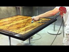 Woodworking # 41  Finishing Of Bookmatched Veneer Table Top  Woodwork