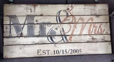 Wooden Sign  'Mr & Mrs' with Wedding Year  by itsoveryonder, $150.00
