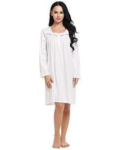 f0c800d66c Price  Ekouaer Sleepshirt Womens Long Nightgown Cotton Sleepwear Loungewear  Nighty S-XXL Fabric  Cotton+ Polyester