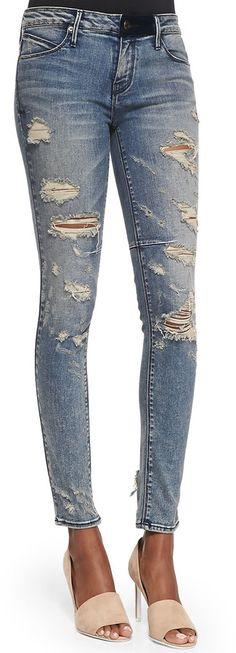RtA Denim Distressed Skinny Ankle Jeans, Destroyed Soil - Spring 2015