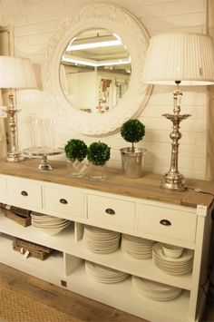 I love that it's used for dishes. Repurpose a dresser into a buffet or maybe a living room sofa table (without dishes, of course.).
