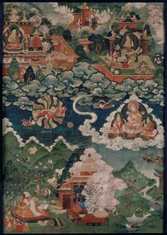 Apparition de Tsong-kha-pa (1357-1409) à son disciple mKhas-grub dge-legs dpal-bzang (1385-1438) (C) RMN-Grand Palais (musée Guimet, Paris) / Thierry Ollivier 18e siècle détrempe, peinture sur toile Tibet