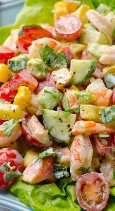 Greek Yogurt Shrimp, Avocado and Tomato Salad