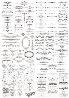 Decor Calligraphic Elements Free Vector Coreldraw, Vector File, Stencils, Fancy, Retro, Abstract, Frame, Vintage, Design