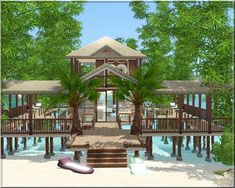 Arda Sims: Water House However, the square footage for container plants is much less than that Minecraft Beach House, Minecraft House Designs, Minecraft Houses, Beach House Floor Plans, Sims House Plans, Casas The Sims 3, Sims3 House, Lotes The Sims 4, Tropical Beach Houses
