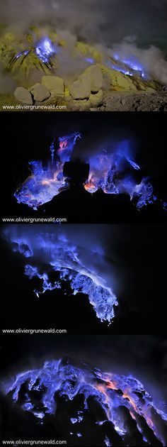 Photographer Olivier Grunewald took these stunning pictures of an Indonesian volcano and sulfur mine that erupted with a spectacular display of brilliant blue lava. The photographer and his friend Regis Etienne have been photographing and filming this phenomenon since they first heard about it in 2008, working under highly dangerous conditions.