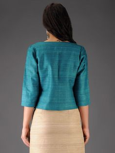 Turquoise Ghicha Silk Jacket Silk Jacket, Cotton Jacket, Jacket Dress, Silk Coat, Designer Party Wear Dresses, Kurti Designs Party Wear, Churidhar Designs, Blouse Designs, Corporate Attire Women