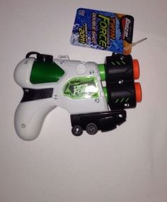 Green White 20 Foot Double Barrel Blast Water Gun Twin Force Double Shot Toy