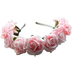 Sofia Floral Crown Pale Pink ($22) ❤ liked on Polyvore featuring accessories, hair accessories, hair, flowers, floral crown, rose flower crown, floral garland, flower garland and flower crown