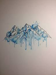 Stunning mountain tattoo designs mountain drawing, mountain outline, watercolor and ink, watercolor foot Geometric Mountain Tattoo, Mountain Tattoo Design, Mountain Tattoos, Mountain Outline, Mountain Drawing, Trendy Tattoos, Cute Tattoos, New Tattoos, Feminine Tattoos