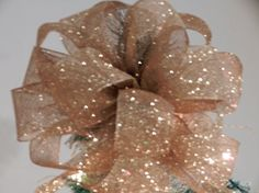 Gold glitter mesh Christmas Tree topper bow by creativelycarole, $30.00