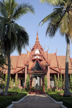 This is the interior of the national museum in  Phnom Penh, Cambodia.
