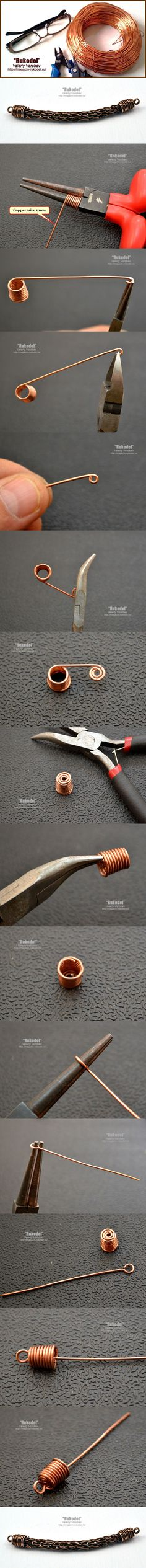 Концевики для бижутерии своими руками. | Рукодел #endcaps #copper #wire