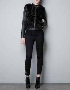 LEATHER AND FUR COMBINED JACKET - Blazers - Woman - ZARA United States