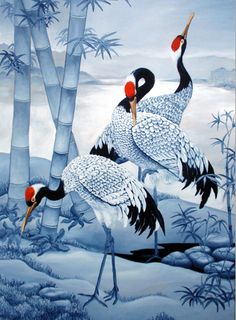 Chinese Cranes Painting