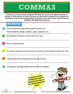 Third Grade Punctuation Worksheets: Commas and Lists Drug Free Door Decorations, Punctuation Worksheets, Sentence Examples, Primary Teaching, Paragraph, Worksheets For Kids, Sentences, Writing, Education