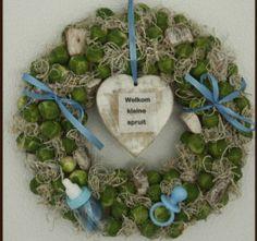 Welkom kleine spruit, geboorte krans Baby Box, Hanukkah, Wreaths, Children, How To Make, Gifts, Weddings, Young Children, Boys