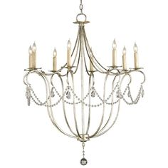 Willowy arms unfurl to create a timeless silhouette in the Crystal Lights Chandelier. Its lovely form is augmented by understated crystal accents and a shimmering Silver Leaf finish, granting an aristocratic sensibility to this dazzling piece.    Number of bulbs: 8  Chain length: 6 feet