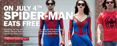 How Awesome is this! Dress As Spider-Man on July 4 And Eat Free At Carl's Jr.!    Stop by http://www.epicmoviecostumes.com for your Spidey Costume!
