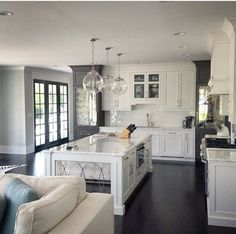 White kitchens and French doors
